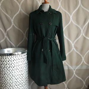 Gap Women's Large Hunter Green Wool Trench Coat